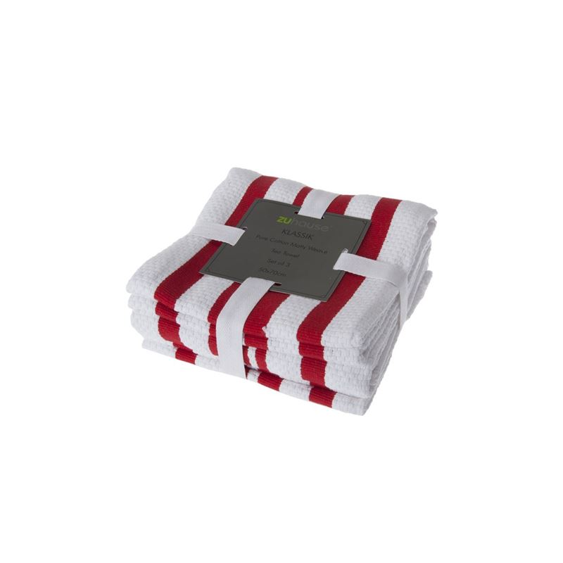 Zuhause – Klassik Pure Cotton Set of 3 Tea Towel 50x70cm Matty Weave Red/White