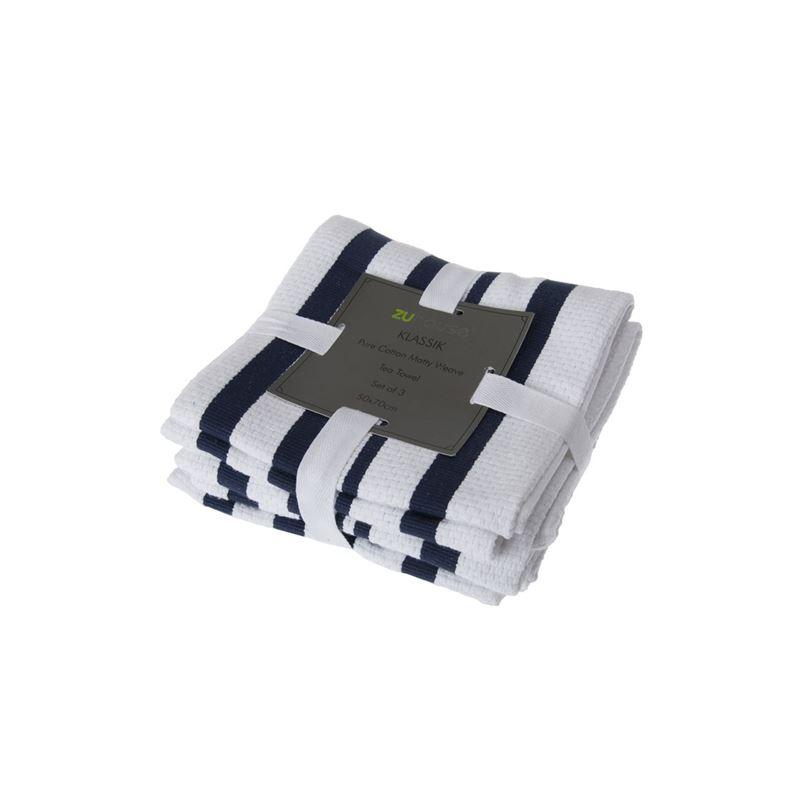 Zuhause – Klassik Pure Cotton Set of 3 Tea Towel 50x70cm Matty Weave Blue/White