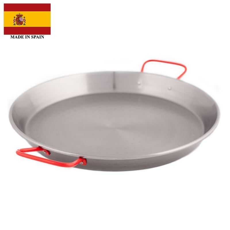 Garcima – Polished Steel Paella Pan 38cm with Red Handles (Made in Spain)