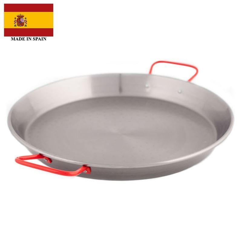Garcima – Polished Steel Paella Pan 46cm with Red Handles (Made in Spain)