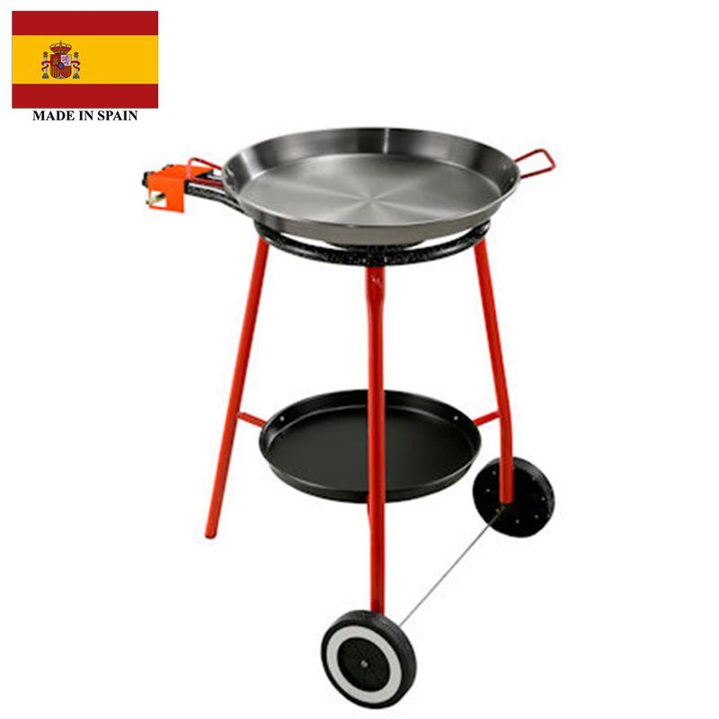 Garcima – Andreu Paella Gas Burner Set 40cm with 46cm Paella Pan with Red Handles (Made in Spain)