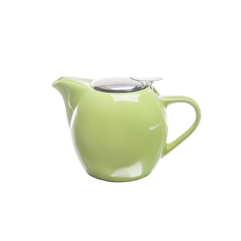 Zuhause – Kiko Ceramic Tea Pot with Stainless Steel Lid and Infuser 500ml Gloss Lime Green