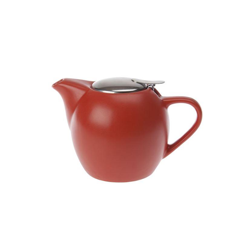 Zuhause – Kiko Ceramic Tea Pot with Stainless Steel Lid and Infuser 500ml Matt Orange