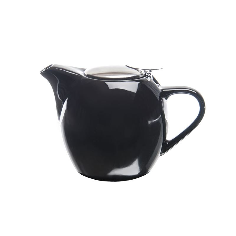Zuhause – Kiko Ceramic Tea Pot with Stainless Steel Lid and Infuser 750ml Gloss Black