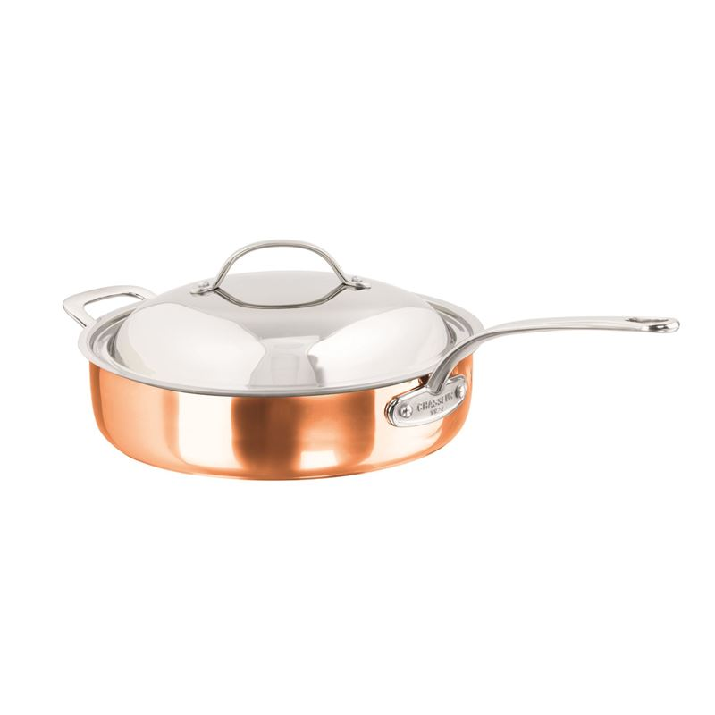 Chasseur – Escoffier Copper and Stainless Steel Tri-Ply Saute Pan 28cm with Helper Handle