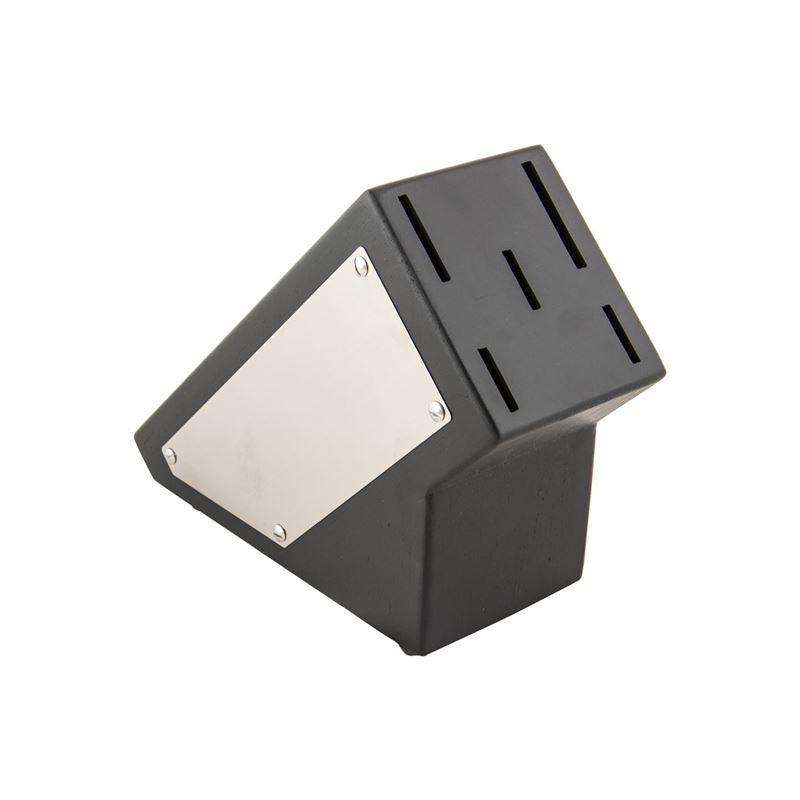 Premium – Elegence Debut Black with Stainless Steel Plate 5 Slot Knife Block (Empty)