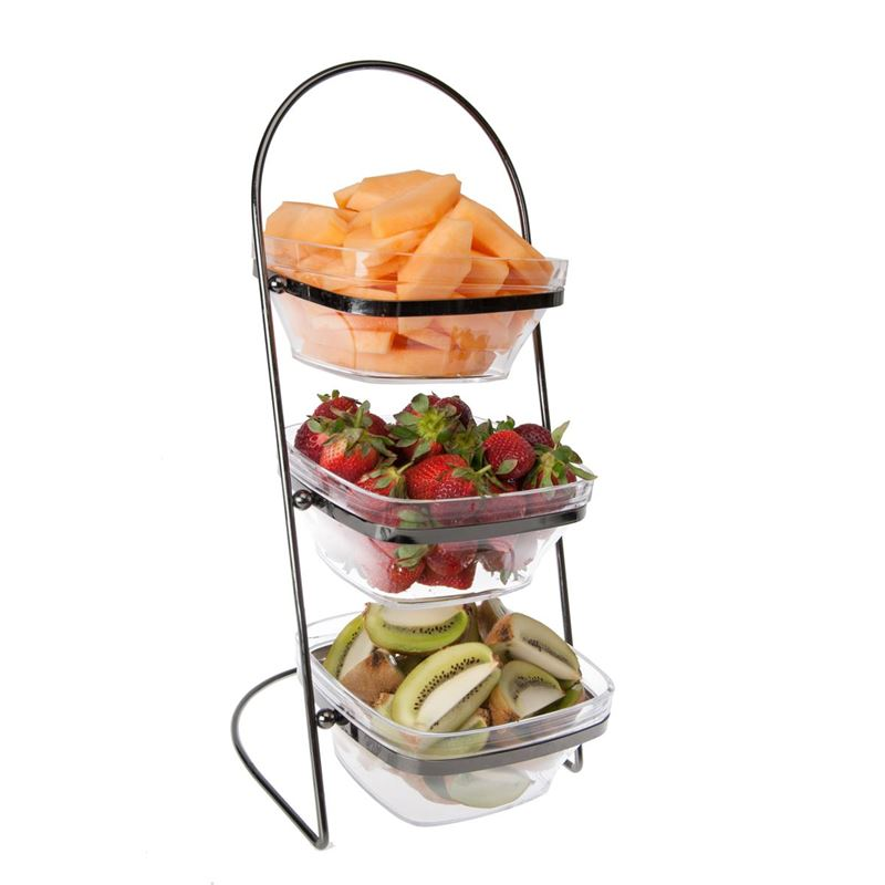 Zuhause – Partii 3 Tier Large Acrylic Snack Bowls with Stand