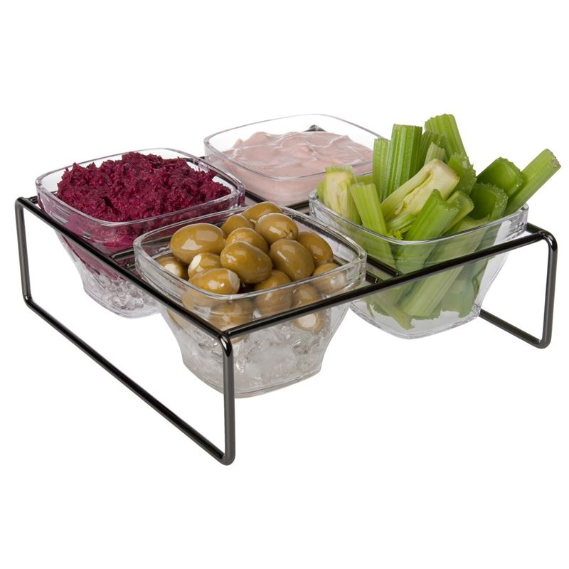 Zuhause – Partii Square Metal Tray with 4 Acrylic Snack Bowls