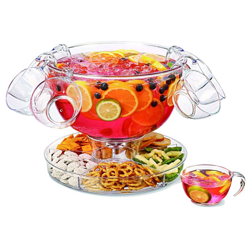 Zuhause – Partii 10pc Acrylic Multi-Purpose Punch Bowl or Cake Dome Set