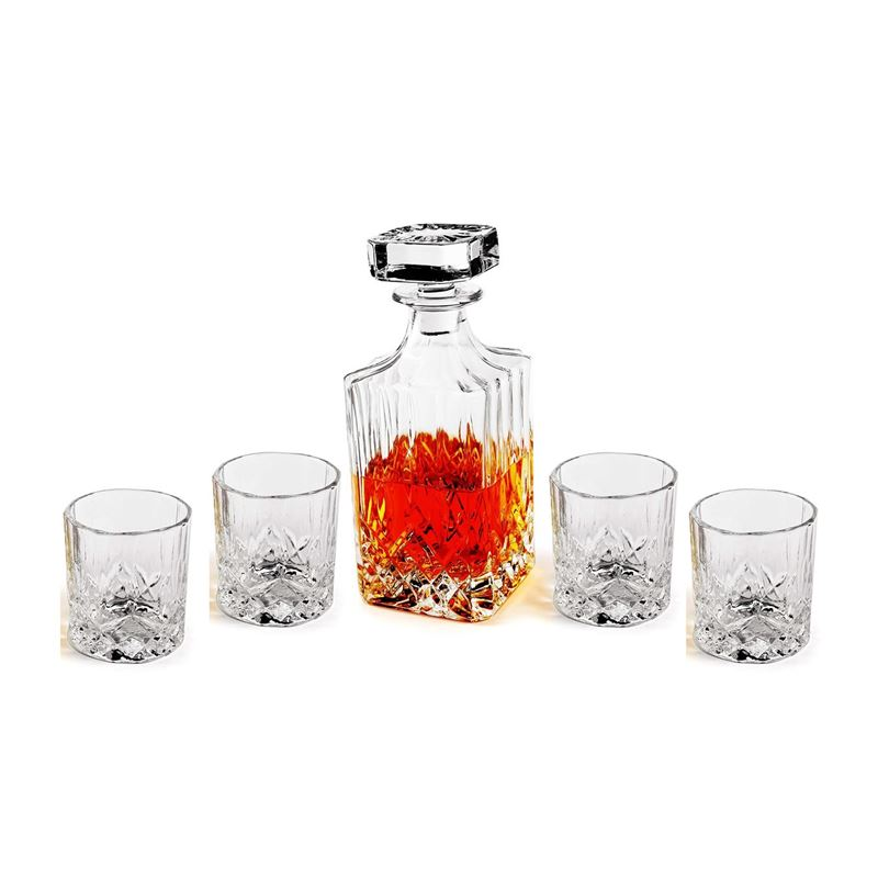 Circleware – Wellfort 5pc Decanter Set Decanter + 4 Whisky Glasses 5pc Set