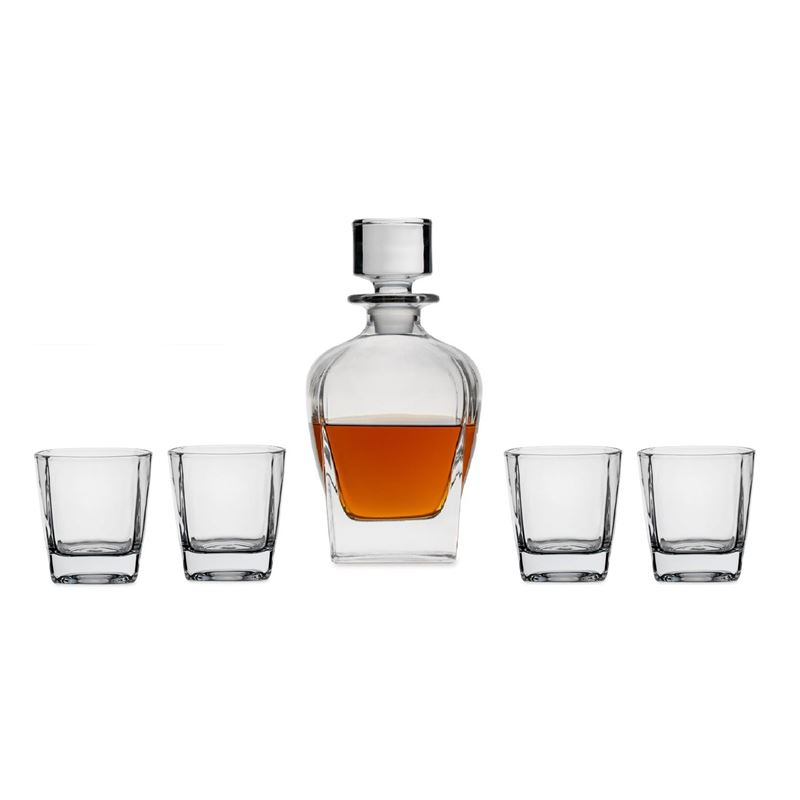 Circleware – Monarch 5pc Decanter Set Decanter + 4 Whisky Glasses