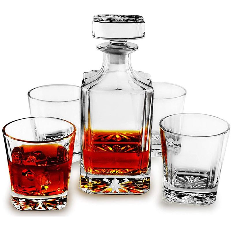 Circleware – Royal 5pc Decanter Set Decanter + 4 Whisky Glasses