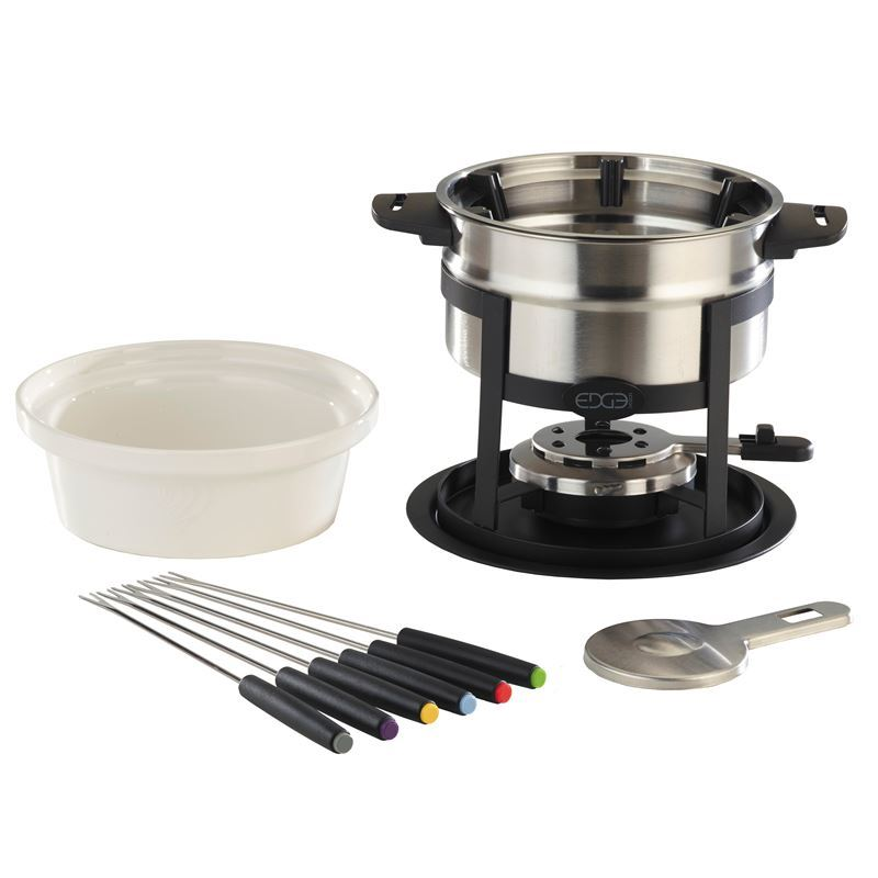 Edge Design – Stainless Steel Fondue set 12pc Set with Magnetic Fork Guide