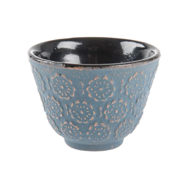 Benzer – Orient Express Sakura Cast Iron Tea Cup 60ml Slate Blue Grey with Bronze Finish