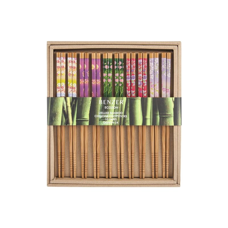 Benzer – Ecozon Bamboo Orient Collection Bamboo Chopsticks 10 Pairs Chinois Design 24