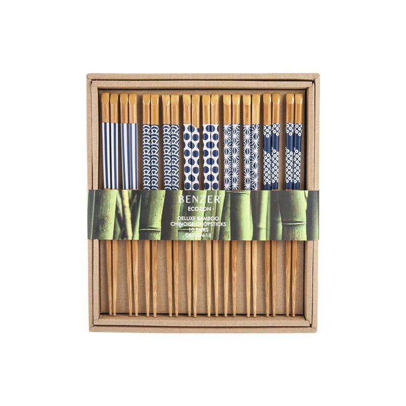 Benzer – Ecozon Bamboo Orient Collection Bamboo Chopsticks 10 Pairs Black Design 18