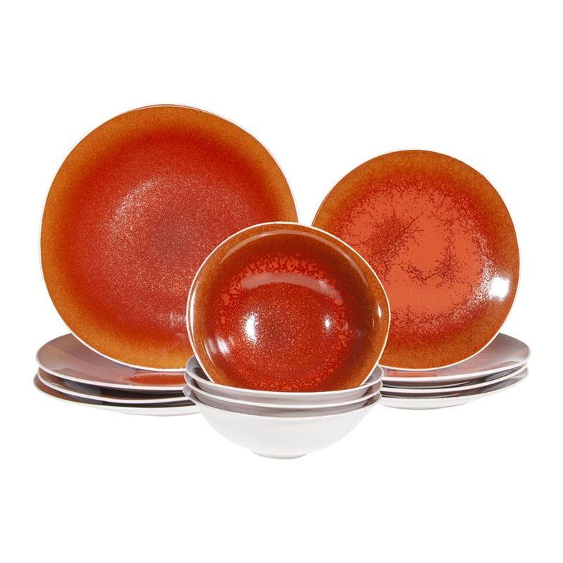 Benzer – Noosa Organic 12pc Dinnerset Reactive Glaze Sunset Orange