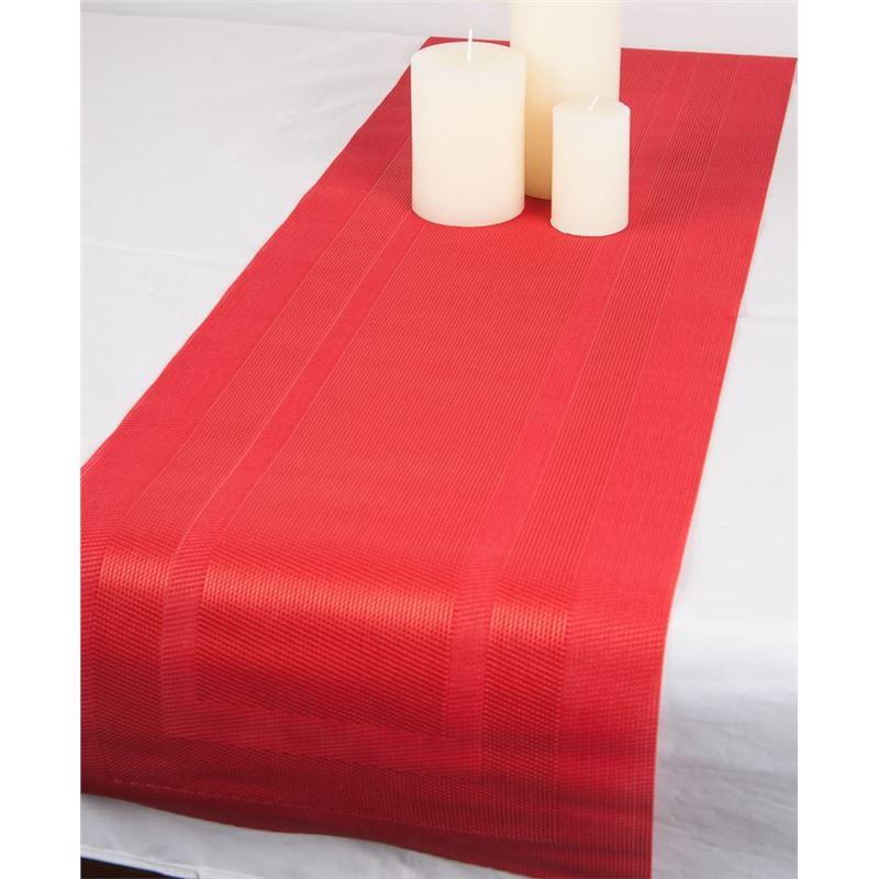 Ogilvies Designs – Woven Living Frame Tablerunner 30x120cm Red