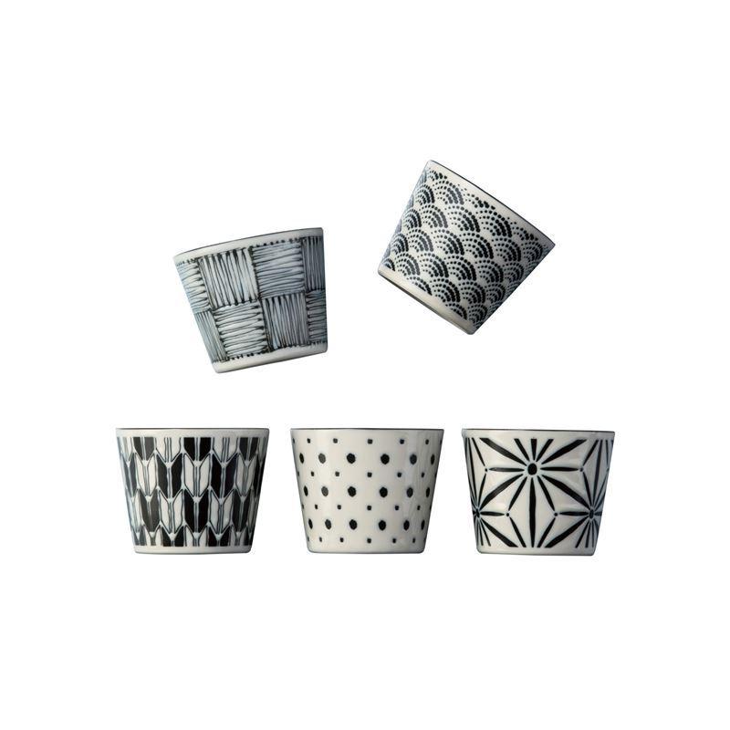 Komon by Noritake – Japanese Porcelain Tea Cup 250ml Set of 5 (Made in Japan)