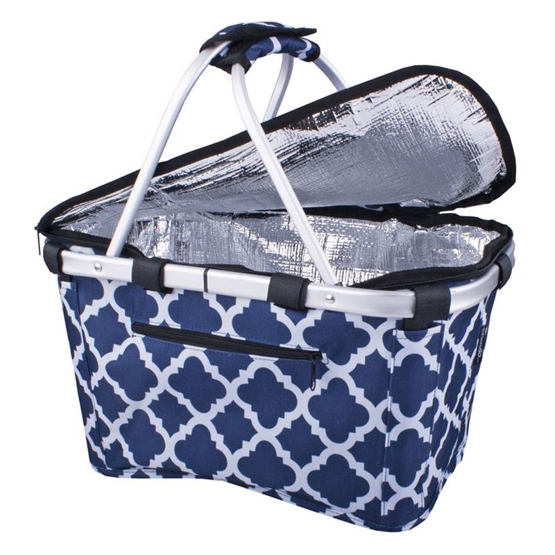 Sachi – Insulated Carry Basket with Lid Moroccan Navy