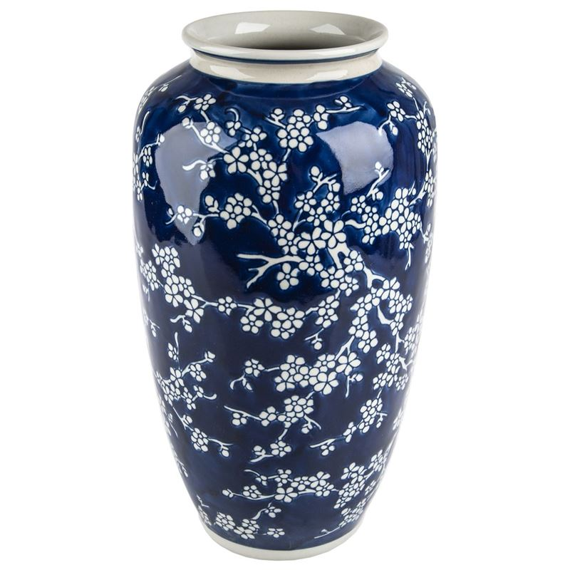 Pimbleton – Chinoiserie Bloom Indigo Tall Round Vase 37cm