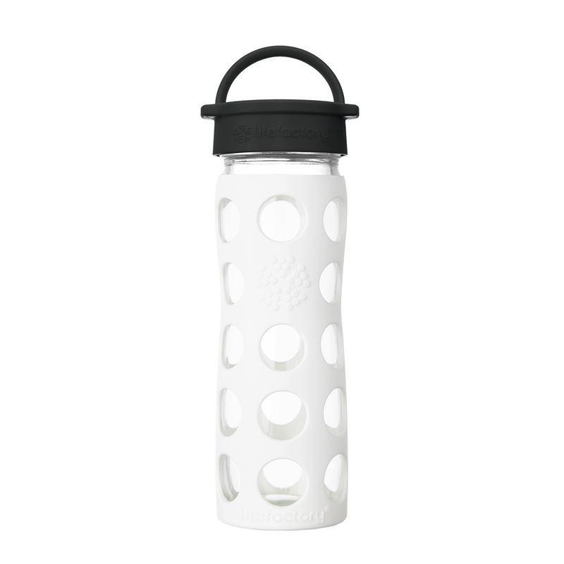 LifeFactory – Glass Hydration Bottle 475ml Classic Cap Bottle Arctic White