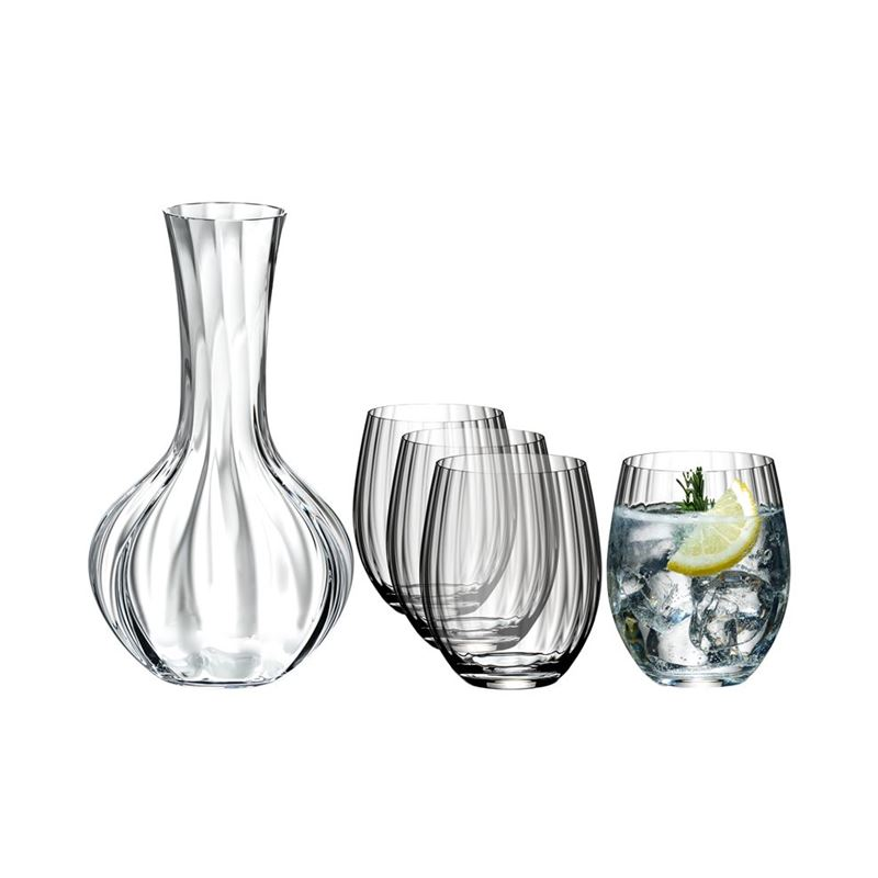 Riedel – Optic O VALUE PACK 4 Pce Long Drink Glass with BONUS Decanter (Made in Germany)
