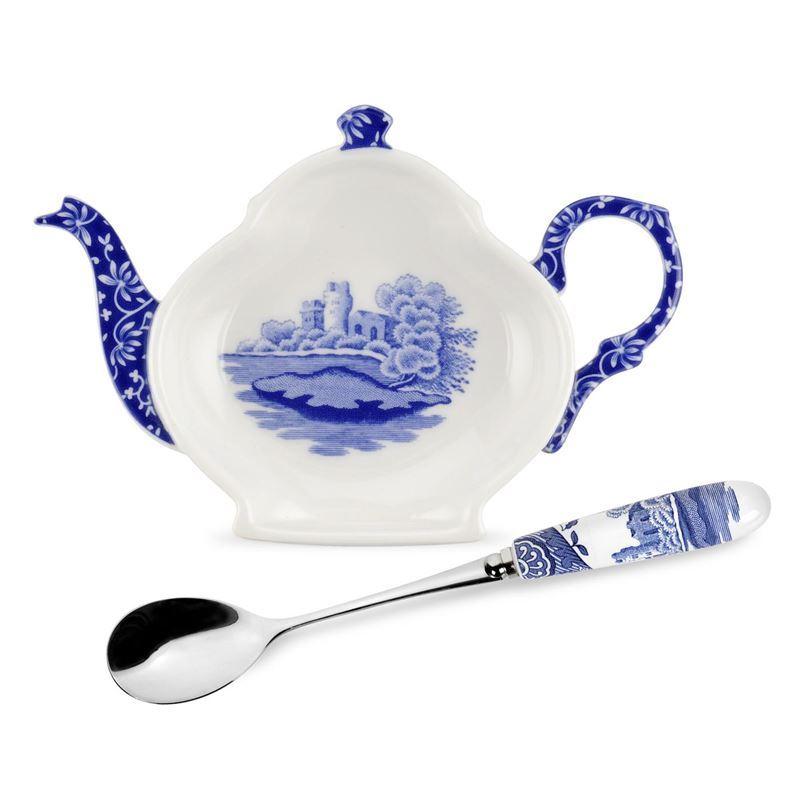 Spode – Blue Italian Tea Tidy & Ceramic Handled Spoon Gift Set
