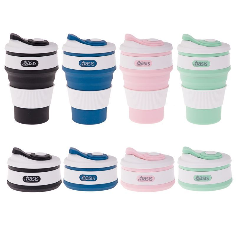 Oasis – Silicone Collapsible Reusable Coffee Cup 350ml Assorted.