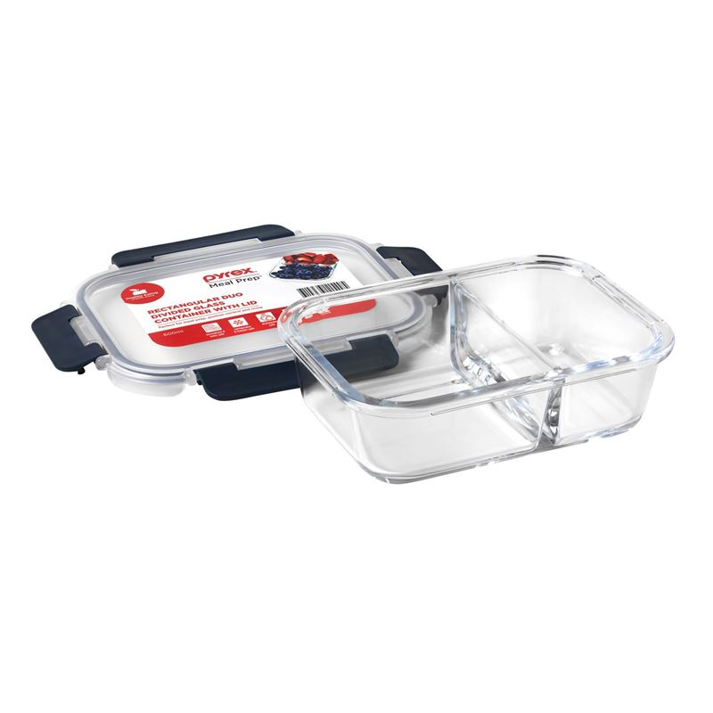 Pyrex – Meal Prep 600ml Rectangular Duo Divided Lunch Box