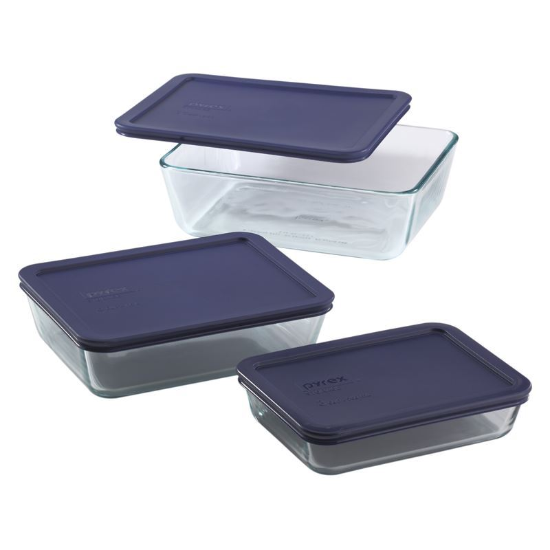 Pyrex Simply Store – Rectangular Glass Storage 3pc Set with Blue Lids (Made in the U.S.A)