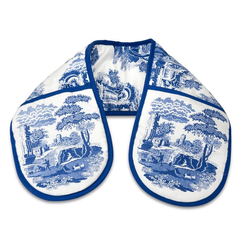 Spode by Pimpernel – Blue Italian Cotton Double Oven Gloves 18x88cm