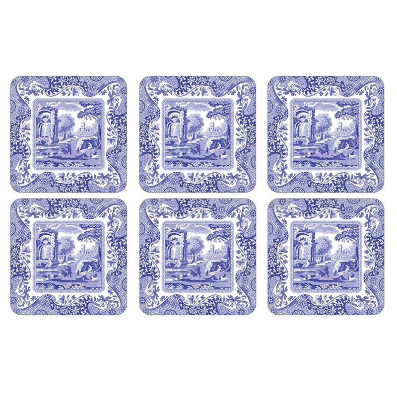 Pimpernel – Blue Italian Set of 6 Cork Backed Coasters 10.5×10.5cm