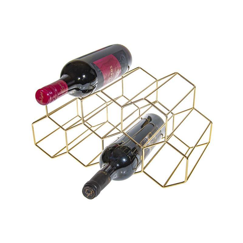 Benzer – Stak Bar Polished Gold Wine Rack Holder for 9 Bottles