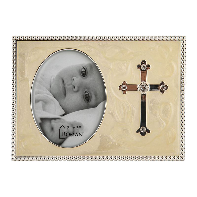 Roman – Caroline Collection Silver Plated 10cm Frame with Cross 5x8cm Photo