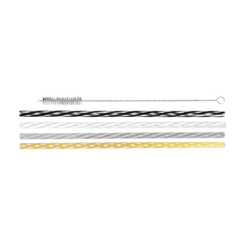 Avanti – Reusable Straws Celebration 25cm with Cleaning Brush Set of 24