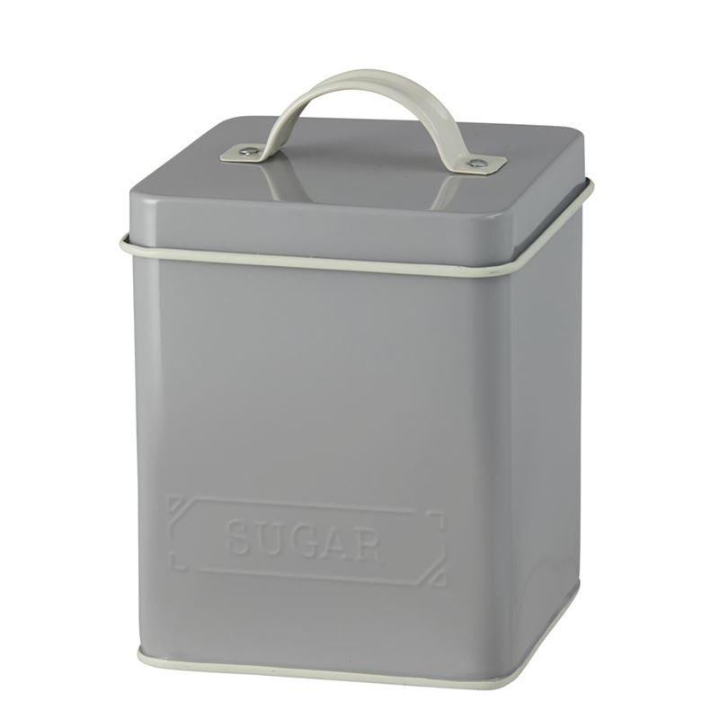 Pantry – Embossed Tin Sugar Canister 11.5x16cm Ash/Ecru