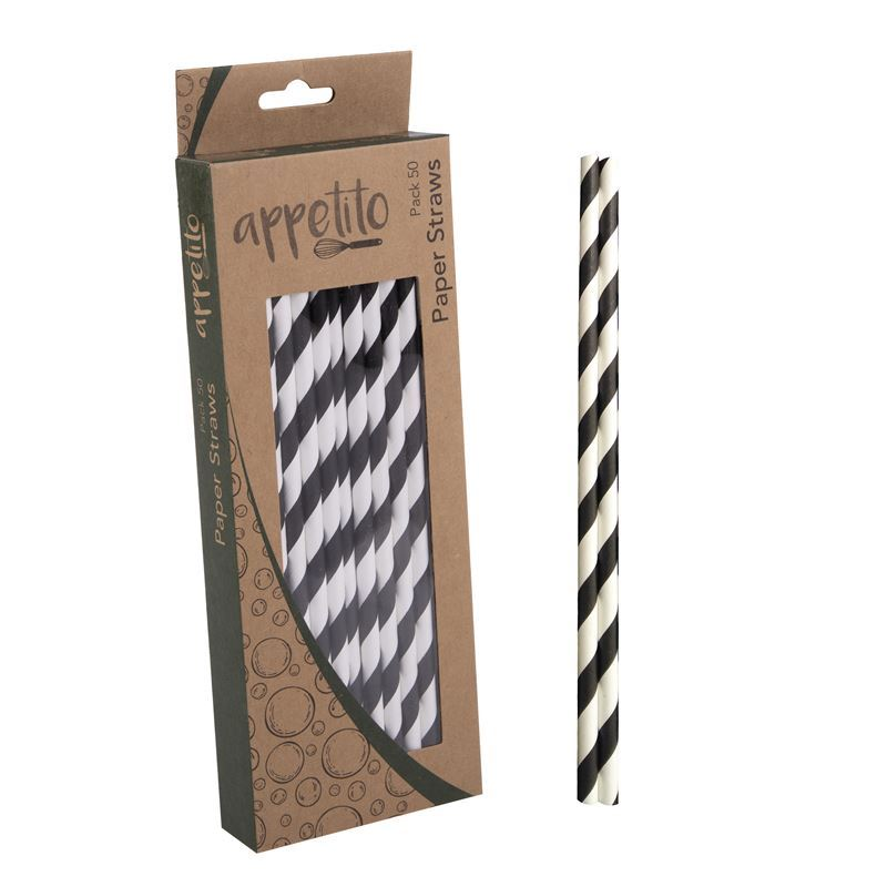 Appetito – Paper Straws Pack of 50 Black Stripe