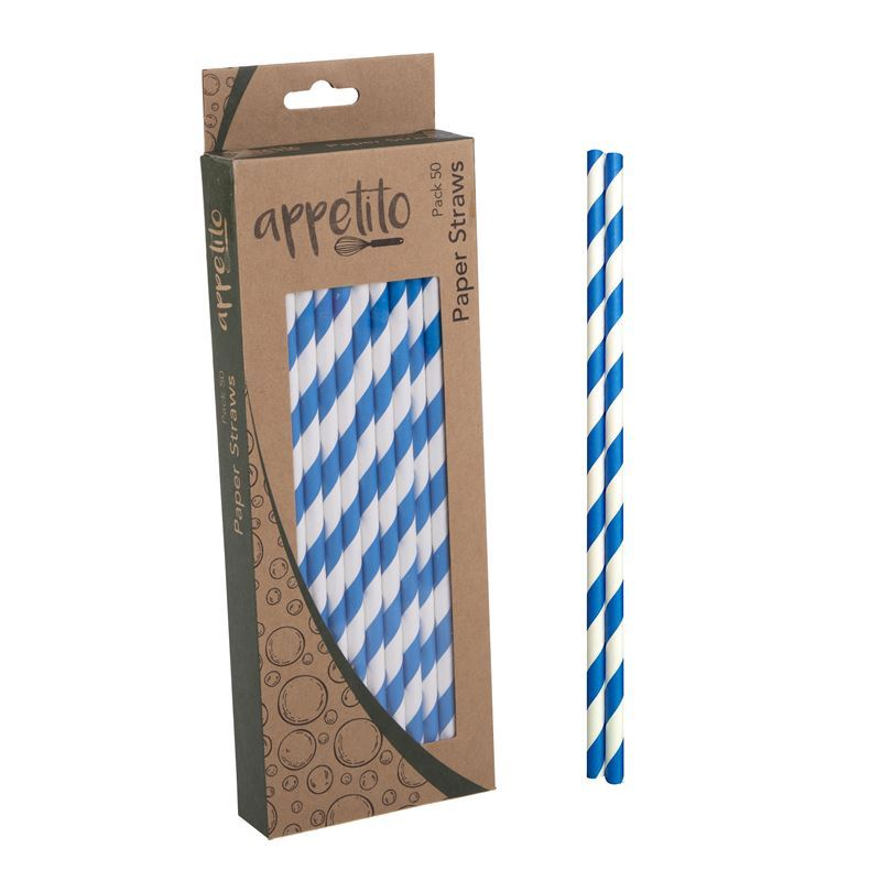 Appetito – Paper Straws Pack of 50 Blue Stripe