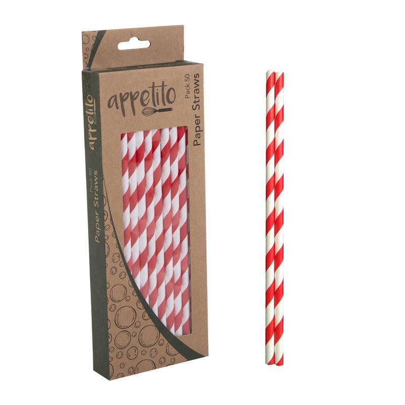 Appetito – Paper Straws Pack of 50 Red Stripe