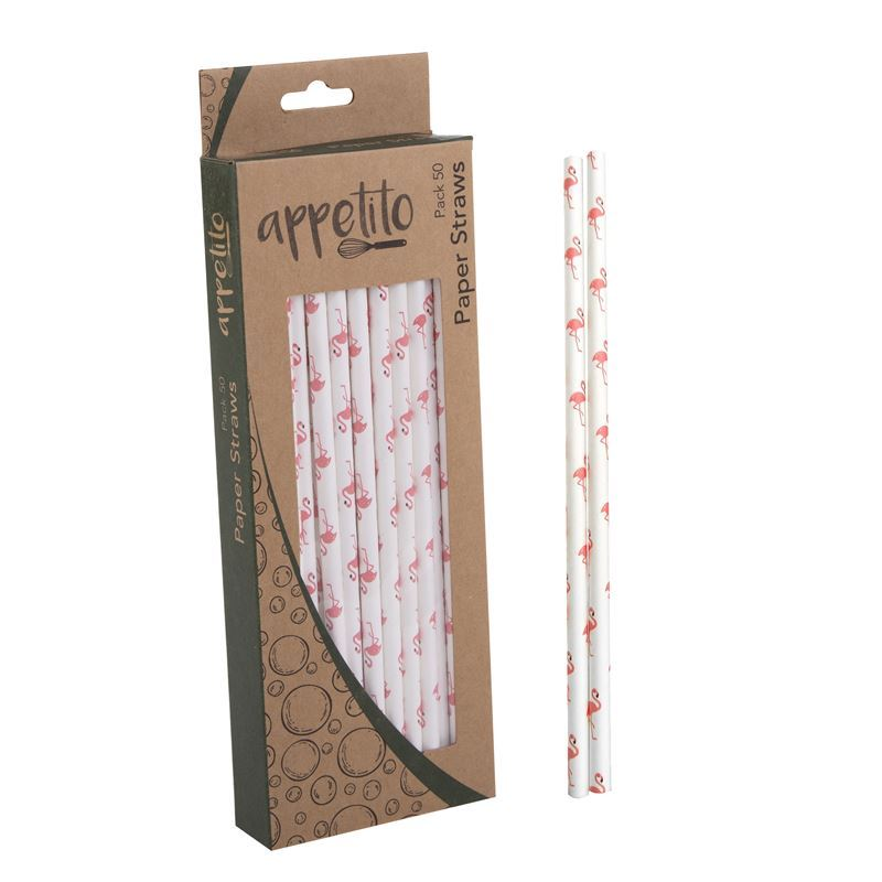 Appetito – Paper Straws Pack of 50 Flamingo