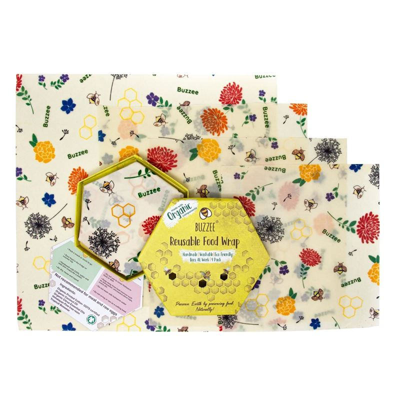 Buzzee – Organic Beeswax Wraps Pack of 4 Bees at Work