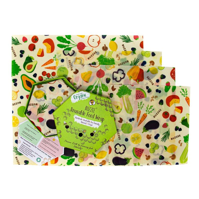 Buzzee – Organic Beeswax Wraps Pack of 4 Harvest