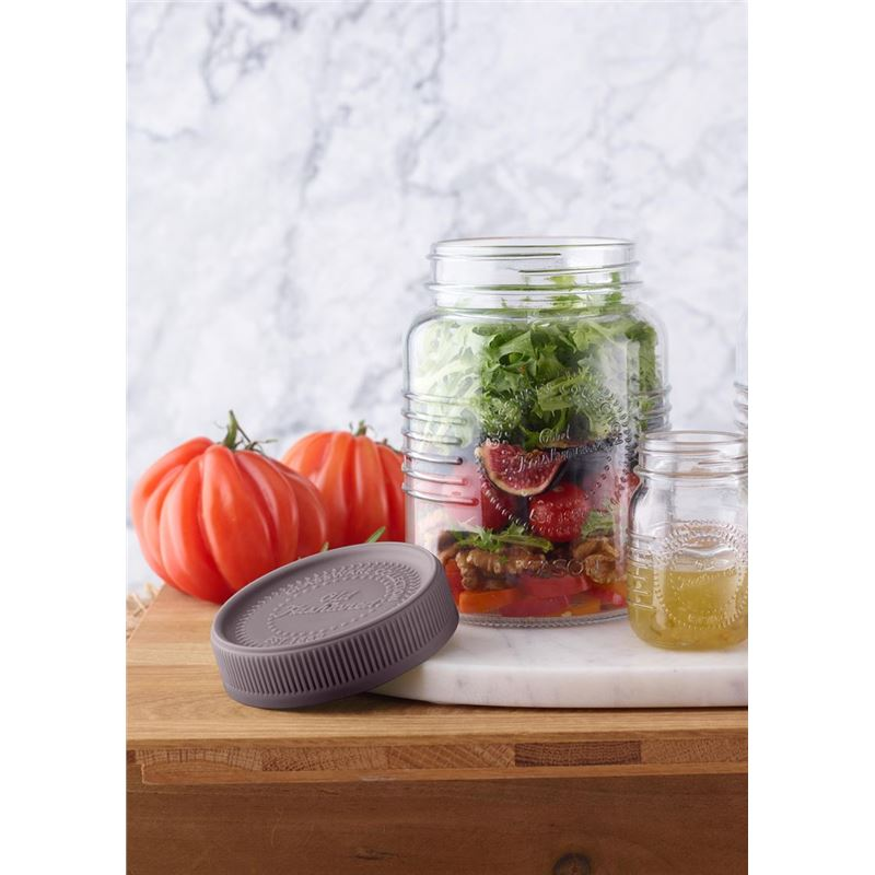 Mason – 'Old Fashioned' Salad on the Go with Salad Dressing Pot 1Ltr – Coffee Lid