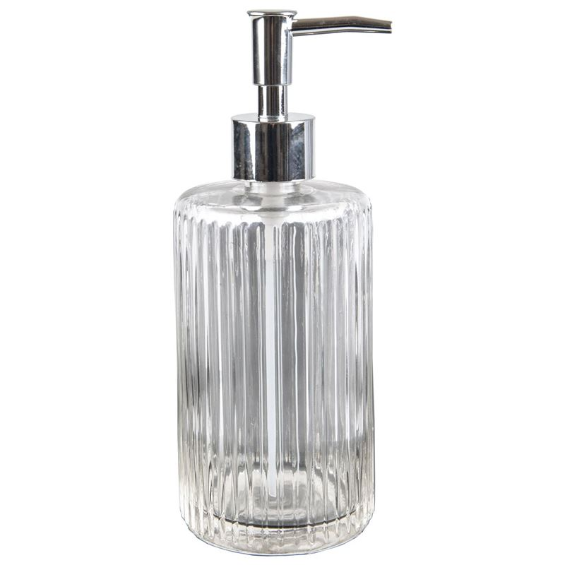 Circleware – Embossed Glass Hand Soap/Lotion Dispenser 380ml Asst