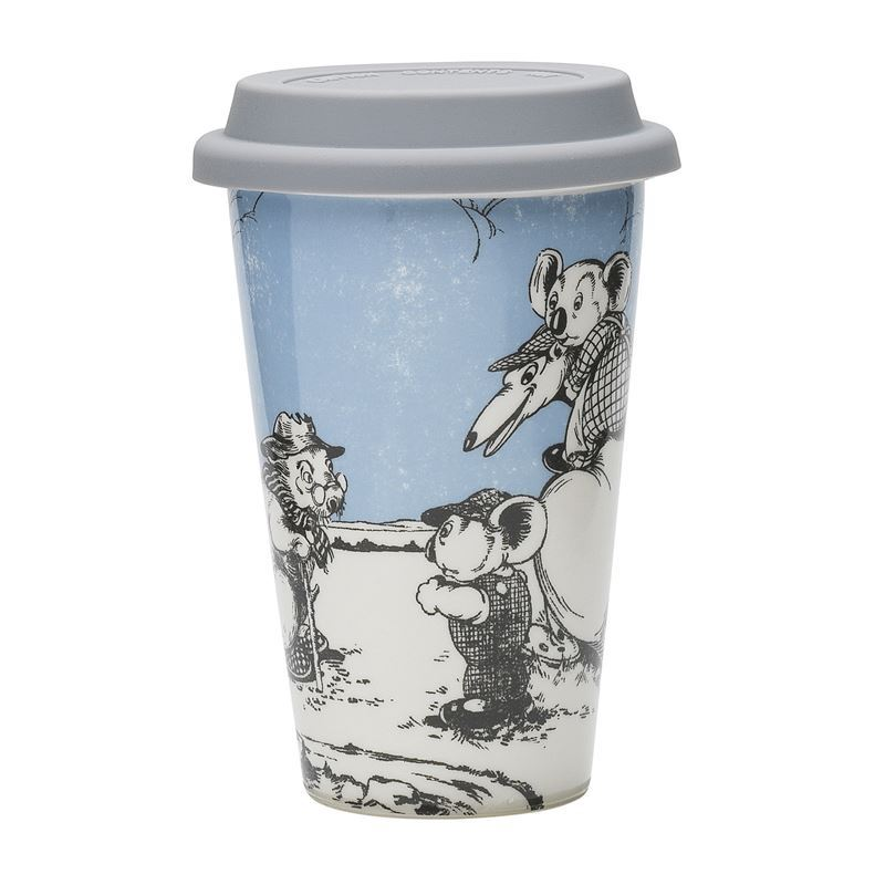 Blinky Bill by Ecology – Bone China 240ml Re-Usable Coffee Mug with Silicone Lid  Blue