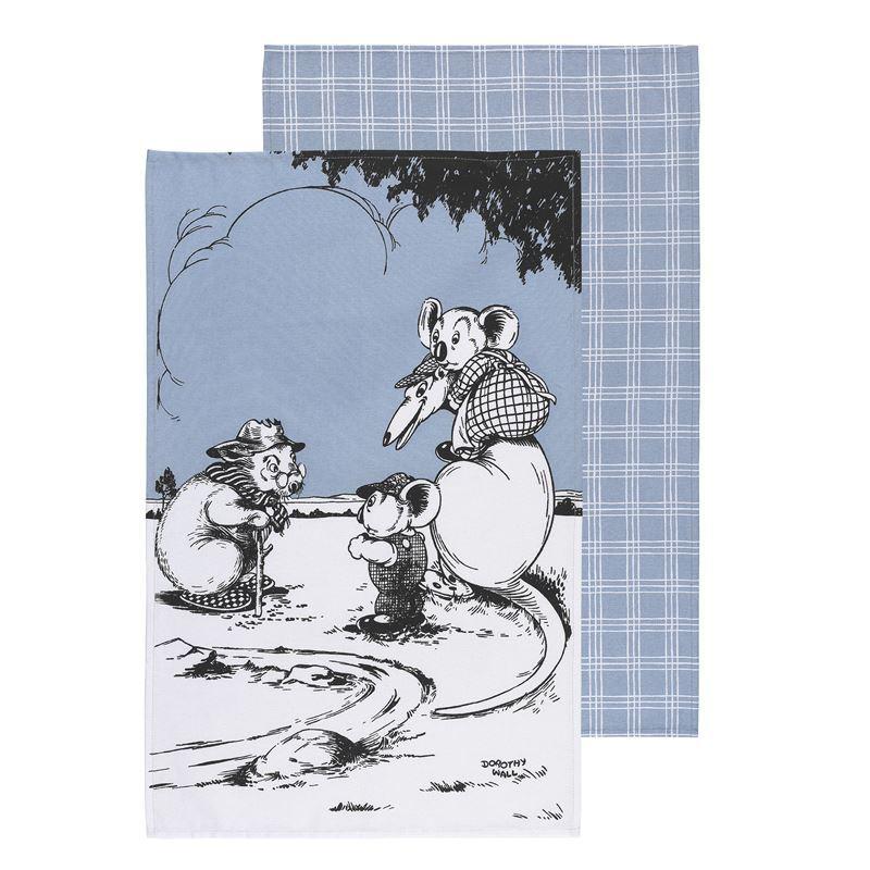 Blinky Bill by Ecology – 100% Cotton Tea Towel Set of 2 Blue