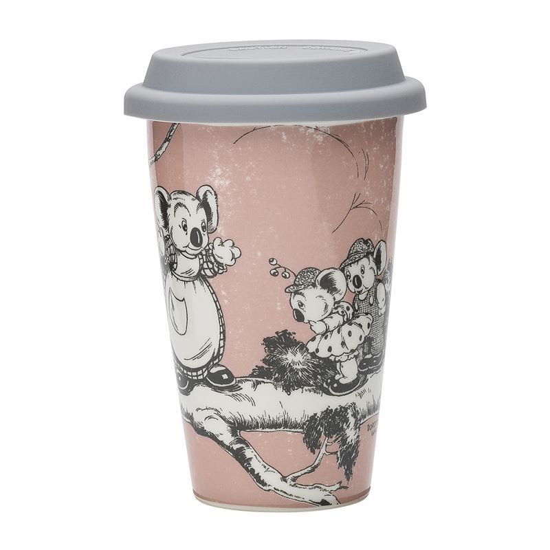 Blinky Bill by Ecology – Bone China 240ml Re-Usable Coffee Mug with Silicone Lid Coral