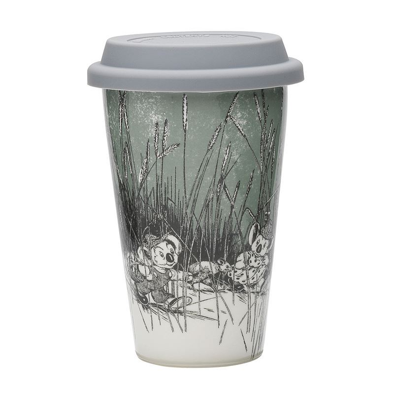 Blinky Bill by Ecology – Bone China 240ml Re-Usable Coffee Mug with Silicone Lid Sage Green