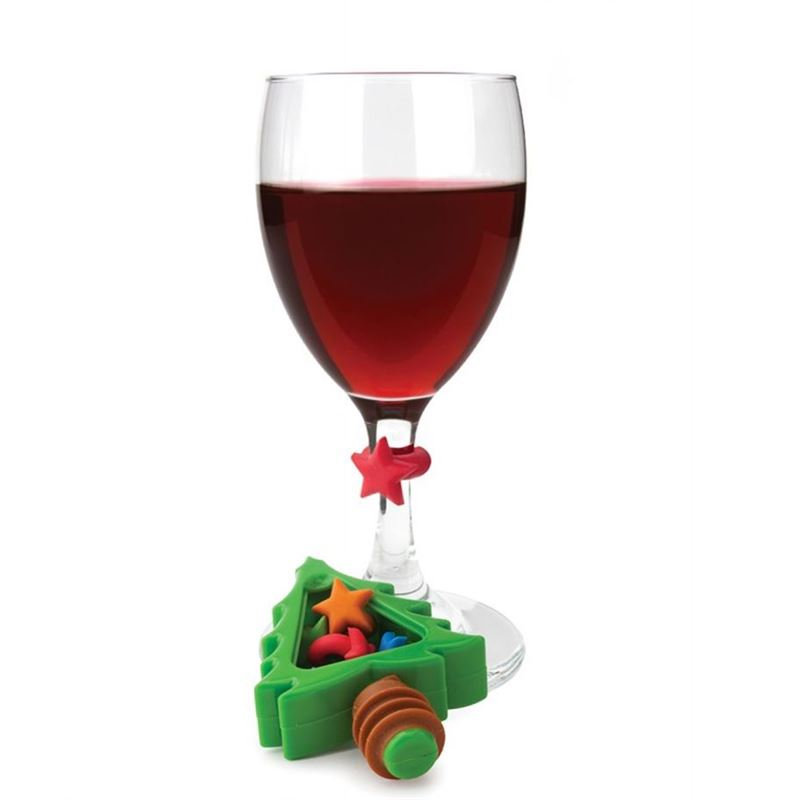 Joie – Noel Christmas Tree Bottle Topper and 6 Wine Charms